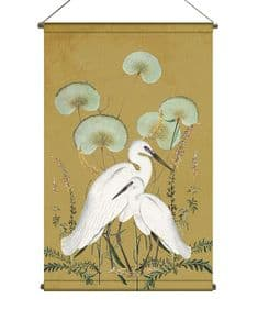 BohoandCo White Egrets wallhanging - vintage ochre